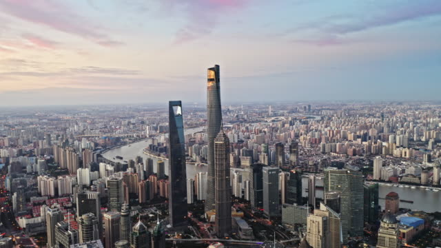 aerial view of shanghai lujiazui financial district by drone - lujiazui stock videos & royalty-free footage