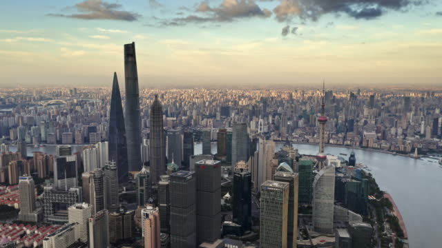 aerial view of shanghai lujiazui financial district by drone - shanghai stock videos & royalty-free footage