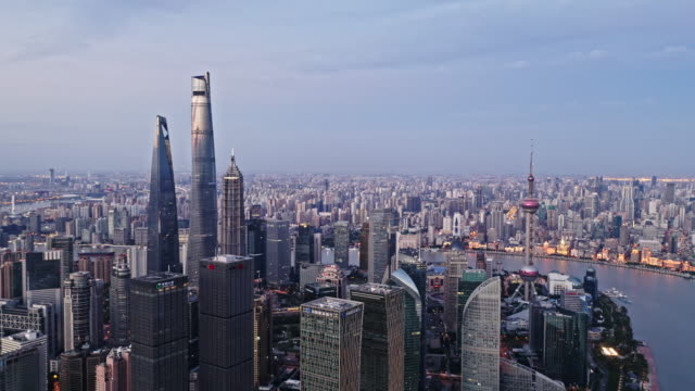 aerial view of shanghai lujiazui financial district by drone - the bund stock videos & royalty-free footage