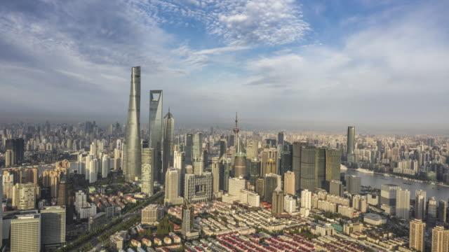 aerial view of shanghai lujiazui financial district - lujiazui stock videos & royalty-free footage