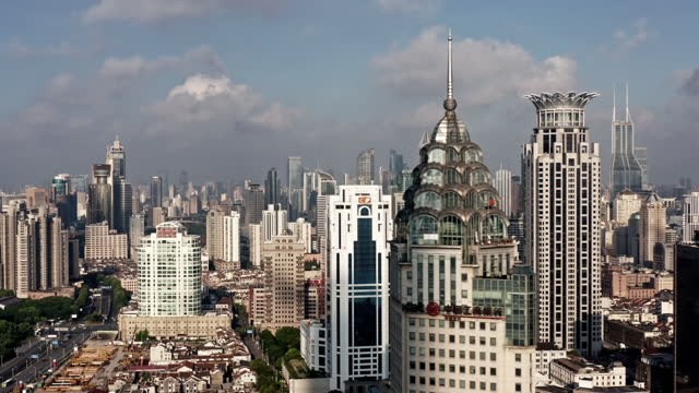 aerial view of shanghai skyline at daytime - the bund stock videos & royalty-free footage