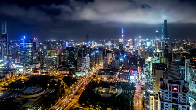 WS HA Aerial View of Shanghai Skyline at Night / Shanghai, China