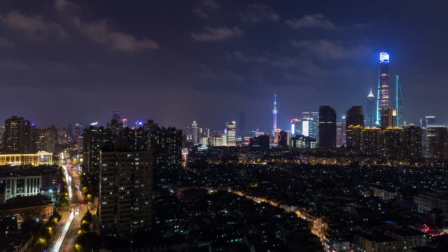 Aerial View of Shanghai Skyline at Night