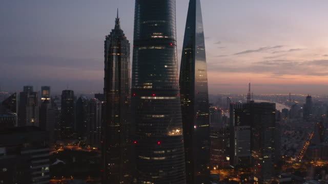 aerial view of shanghai skyline - skyscraper stock videos & royalty-free footage