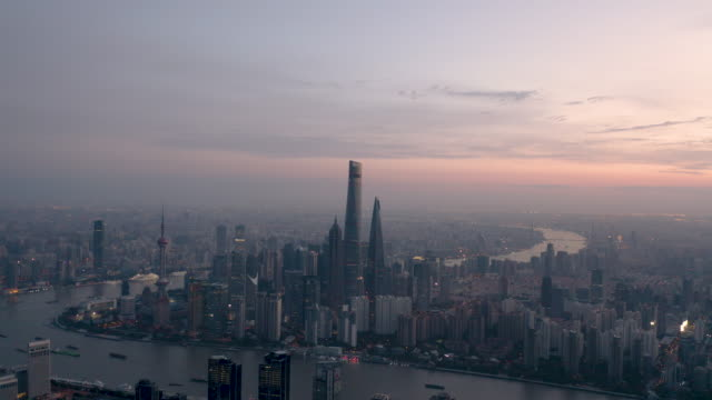 aerial view of shanghai skyline - china east asia stock videos & royalty-free footage