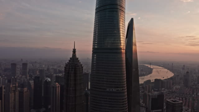 aerial view of shanghai skyline - east china stock videos & royalty-free footage