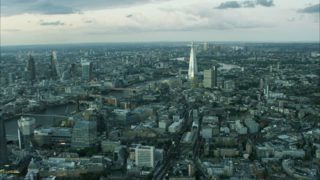 Aerial view of Shard and Gherkin Building London