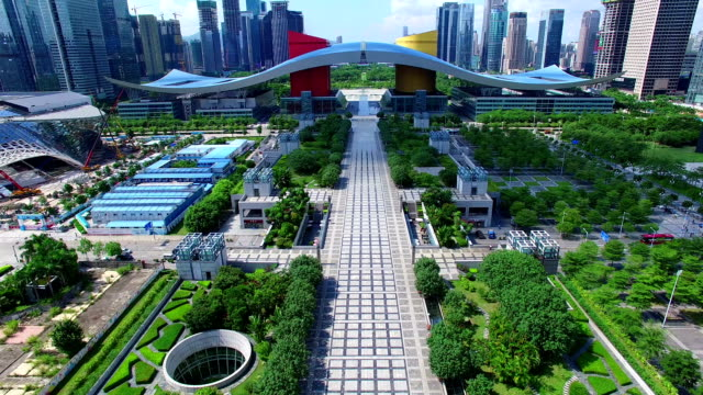 aerial view of shen zhen city - government building stock videos and b-roll footage