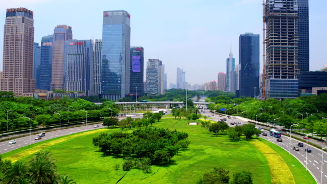 aerial view of shen zhen city - dallas stock videos & royalty-free footage