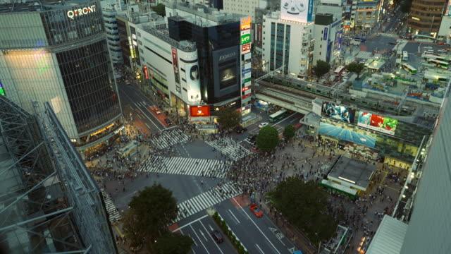 Aerial view of Shibuya Crossing in Tokyo, Japan