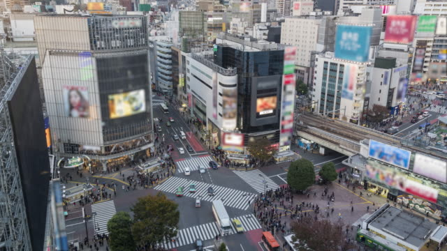 aerial view of shibuya crossing time lapse - shibuya station stock videos and b-roll footage