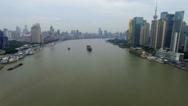 aerial view of ship on huangpu river/shanghai.china. - river huangpu stock videos & royalty-free footage