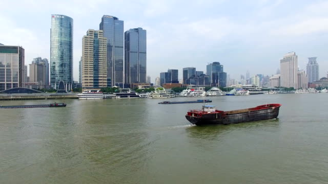Aerial View of ship on Huangpu River/Shanghai.China.