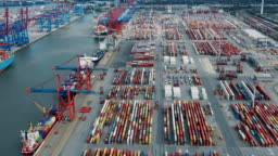 Aerial view of shipping containers  in harbor