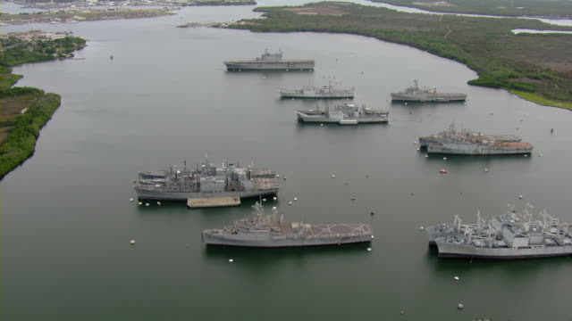 aerial view of ships in pearl harbor - pearl harbor stock videos and b-roll footage