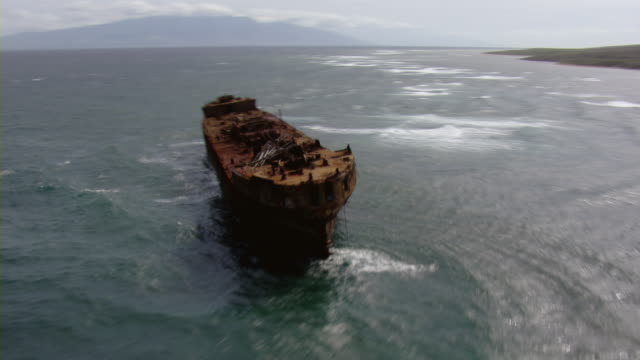 Aerial view of shipwreck off the coast of Lanai Island in Hawaii.
