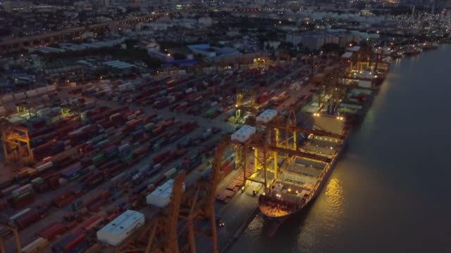 Aerial view of Shipyard working loading Container cargo at Night