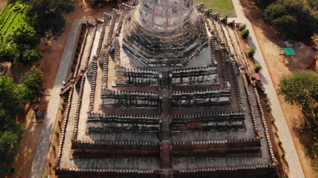 aerial view of shwesandaw pagoda, bagan, myanmar - old ruin stock videos & royalty-free footage