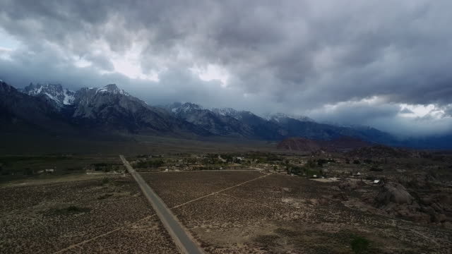 aerial view of sierra nevadas, roads and alabama hills. - dramatic landscape stock videos & royalty-free footage