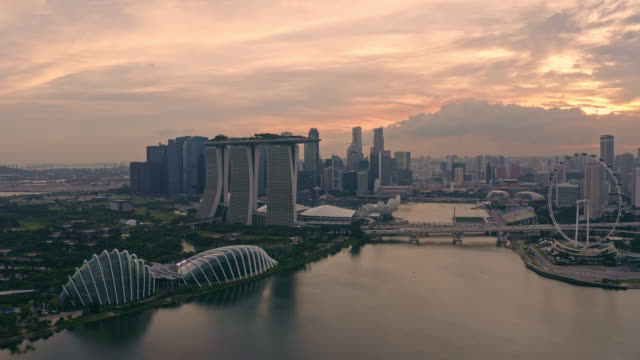 aerial view of singapore business district downtown at sunset - singapore stock videos & royalty-free footage