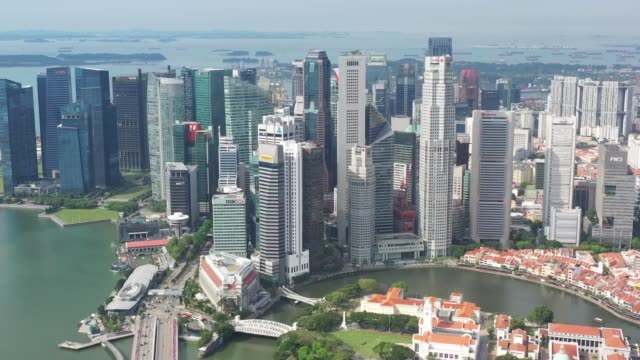 aerial view of singapore during day time - boulevard stock videos & royalty-free footage