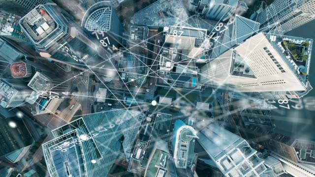 aerial view of singapore modern city and communication network, smart city. internet of things. information communication network. sensor network. smart grid. conceptual abstract. - business video stock e b–roll