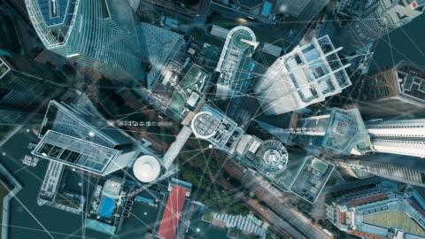 vídeos y material grabado en eventos de stock de vista aérea de la moderna red de comunicación y ciudad de singapur, smart city. internet de las cosas. red de comunicación de información. redes de sensores. smart grid. abstracto conceptual. - new york city