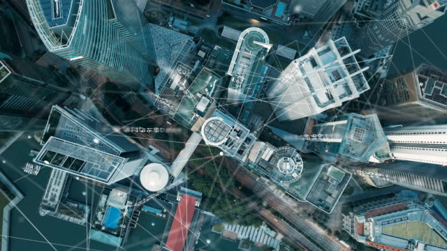 vídeos de stock e filmes b-roll de aerial view of singapore modern city and communication network, smart city. internet of things. information communication network. sensor network. smart grid. conceptual abstract. - equipamento