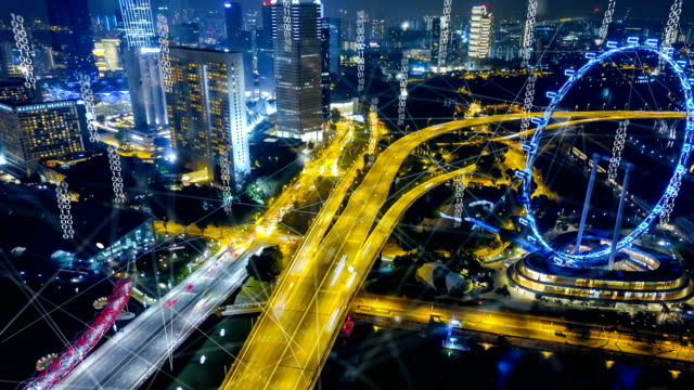 vídeos de stock, filmes e b-roll de vista aérea de singapura moderna cidade e comunicação rede, smart city. internet das coisas. rede de comunicação de informações. rede de sensores. smart grid. resumo conceitual. - evolução