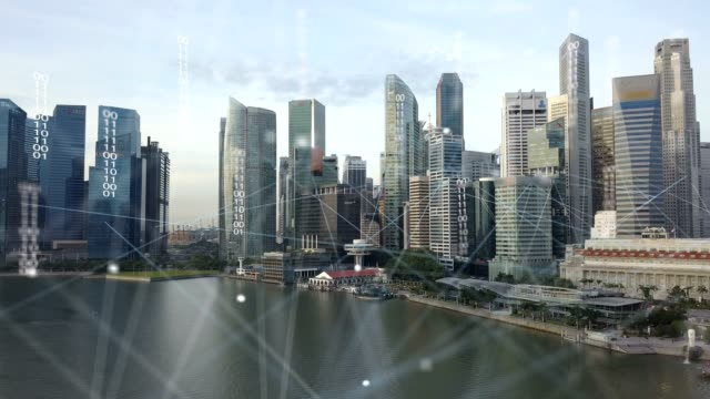 Aerial view of Singapore modern city and communication network, Smart City. Internet of Things. Information Communication Network. Sensor Network. Smart Grid. Conceptual abstract.