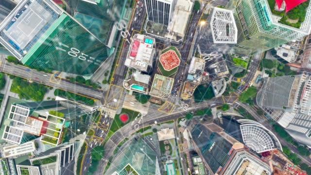 luftaufnahme des modernen stadt-und kommunikationsnetzes singapur, smart city. internet der dinge. informationskommunikation netzwerk. sensornetz. smart grid. konzeptionelle zusammenfassung. - cloud computing stock-videos und b-roll-filmmaterial