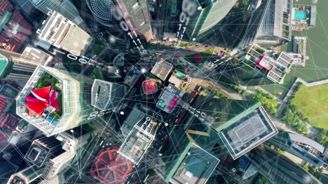 aerial view of singapore modern city and communication network, smart city. internet of things. information communication network. sensor network. smart grid. conceptual abstract and industrial 4.0 - fiber optic stock videos & royalty-free footage