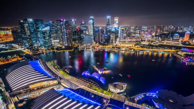 T/L WS HA ZI Aerial View of Singapore Skyline at Night / Singapore