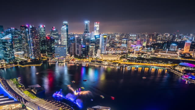 T/L WS HA PAN Aerial View of Singapore Skyline at Night / Singapore