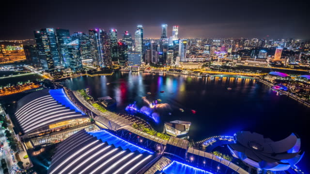 T/L WS HA Aerial View of Singapore Skyline at Night / Singapore