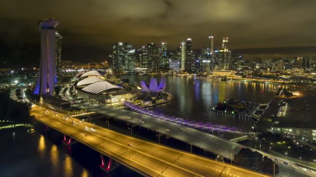 Luchtfoto van Singapore time-lapse