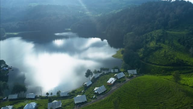 aerial view of situ patenggang ciwidey, west java. - stock video - 湖点の映像素材/bロール