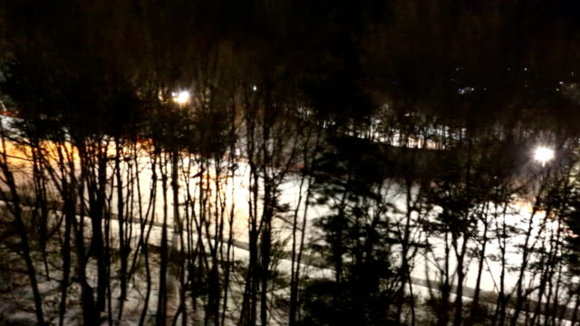 Aerial view of Ski Slope at night