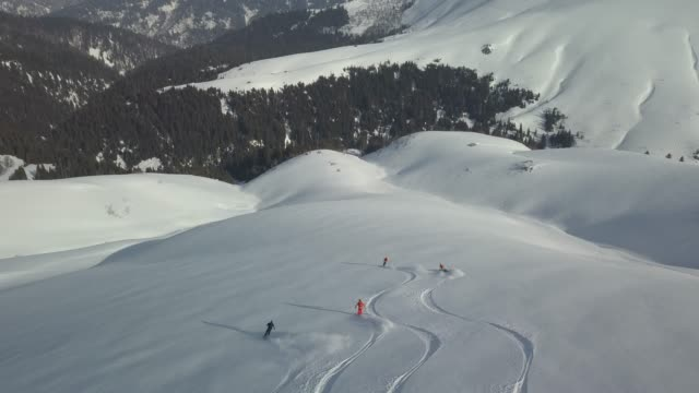 Aerial view of skiers descending snowy mountain, deep powder