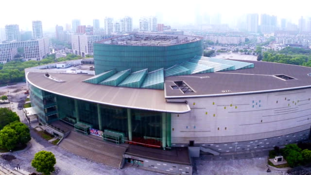 stockvideo's en b-roll-footage met aerial view of skyline and modern buildings in ningbo at riverbank,real time. - ningbo