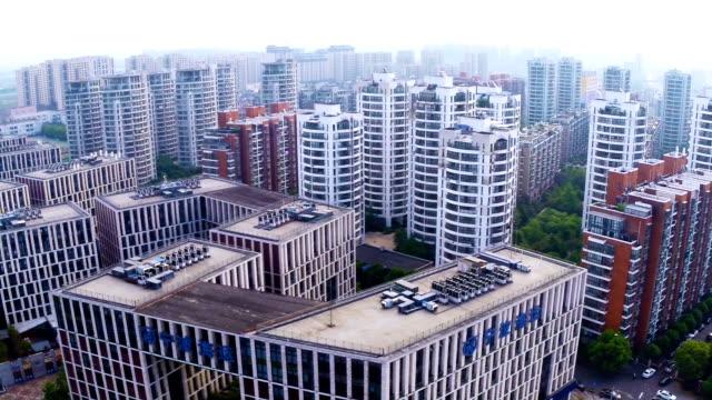 stockvideo's en b-roll-footage met aerial view of skyline and modern buildings in ningbo, real time. - ningbo