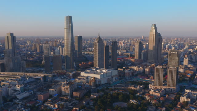 aerial view of skyline in tianjin - nanjing road stock videos & royalty-free footage