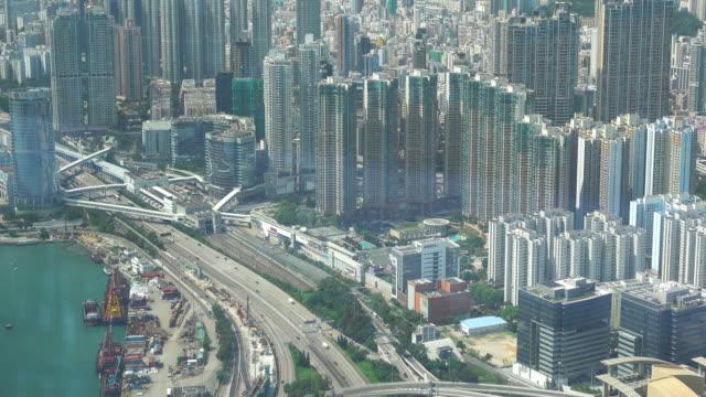 luftaufnahme des wolkenkratzers in hong kong. - high dynamic range imaging stock-videos und b-roll-filmmaterial