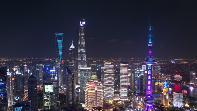 aerial view of skyscraper in shanghai,footage shoot by drone - grandangolo tecnica fotografica video stock e b–roll