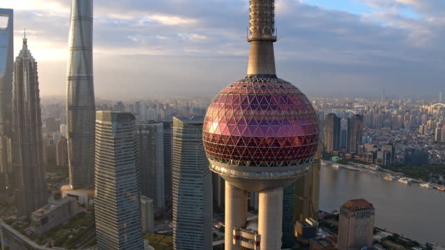 aerial view of skyscraper in shanghai,footage shoot by drone - shanghai world financial center stock videos & royalty-free footage