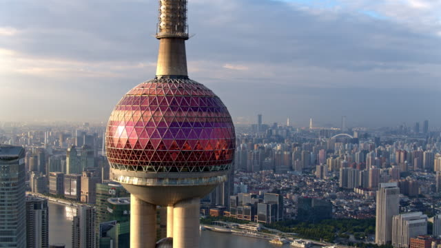 vídeos de stock, filmes e b-roll de aerial view of skyscraper in shanghai,footage shoot by drone - grande angular