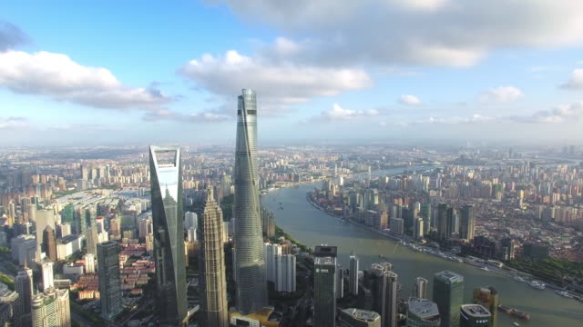 aerial view of skyscraper in shanghai,footage shoot by drone - panoramic stock videos & royalty-free footage