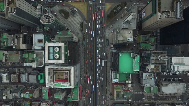 aerial view of skyscrapers at gangnamdaero street and four way intersection near gangnam subway station - personal land vehicle stock videos & royalty-free footage
