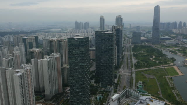 Aerial view of skyscrapers at Songdo International Business District