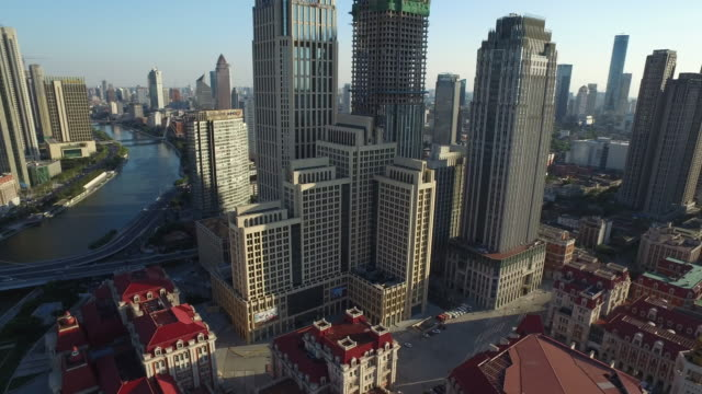 Aerial view of Skyscrapers in downtown district of Tianjin